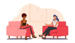 Tv Night Show with Guest. Elegant Female Celebrity Character Giving Interview to Television Presenter in Broadcasting Studio, Journalist Asking Famous Woman Host. Cartoon People Vector Illustration
