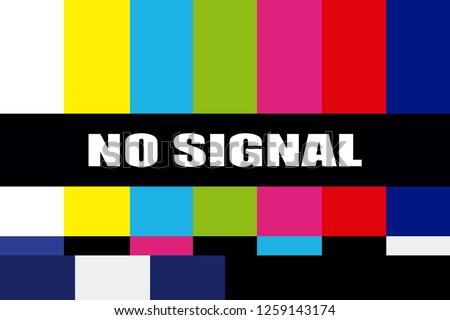 TV no signal background illustration. No signal television screen graphic broadcast design.