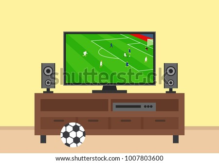 tv  on stand .football soccer match translation on screen