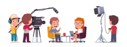 TV presenter man interviewing celebrity woman in television studio with camera crew cameraman shooting interview. Show host, guest kids people talking. TV interview flat vector character illustration
