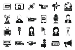 TV presenter news icons set. Simple set of TV presenter news vector icons for web design on white background