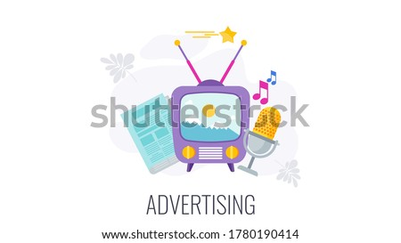TV, radio and newspaper advertising. Outbound marketing. Traditional marketing and promotion. Flat vector cartoon illustration.