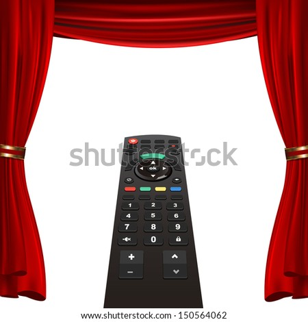 tv remote and red curtain