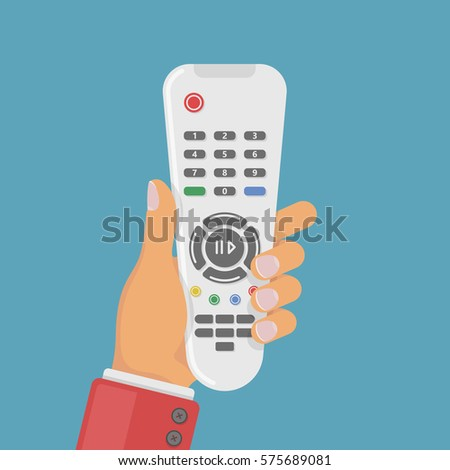 TV remote control in hand. Colorful vector illustration in flat style.