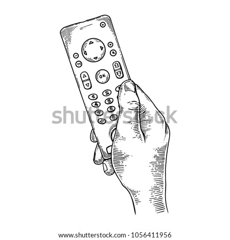 TV remote control in hand engraving vector illustration. Scratch board style imitation. Black and white hand drawn image.
