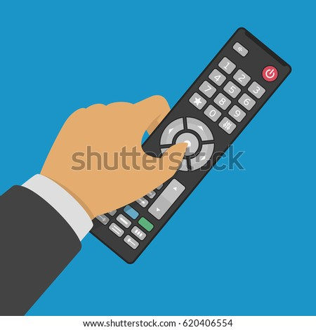 Tv remote control in hand. Vector illustration in flat style. EPS 10.