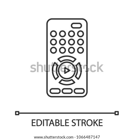 TV remote control linear icon. Thin line illustration. Contour symbol. Vector isolated outline drawing. Editable stroke