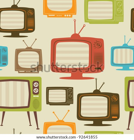 Tv retro seamless pattern. Colorful abstract vector background.