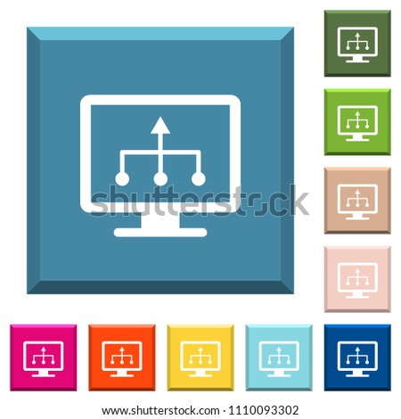 TV select source white icons on edged square buttons in various trendy colors