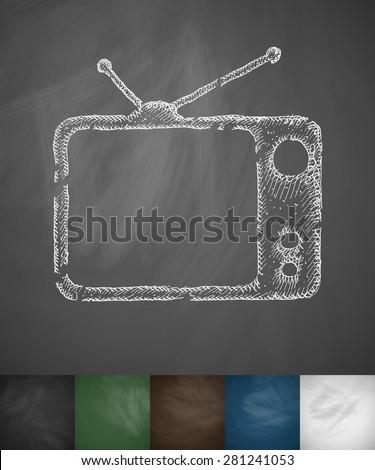 tv set icon hand drawn vector