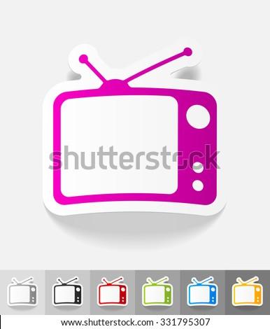 tv set paper sticker with