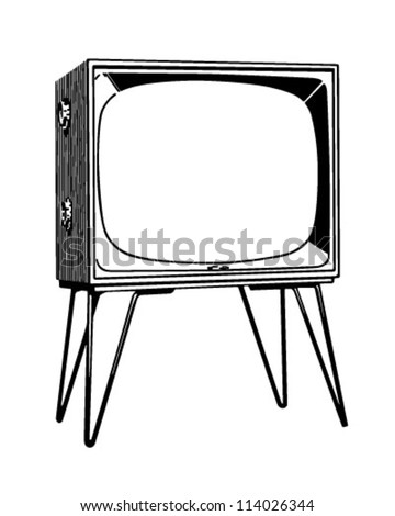 TV Set - Retro Clipart Illustration - stock vector