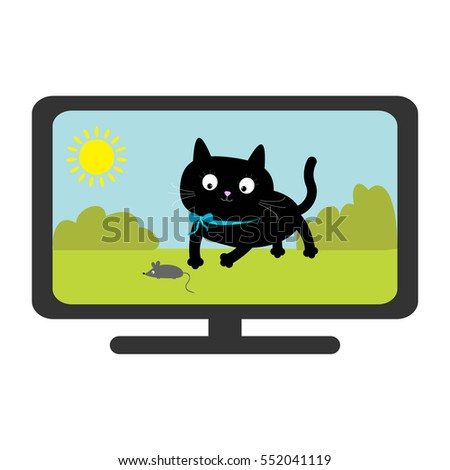 tv set show black cat with