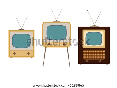 tv sets from the 1950s illustrations - stock vector