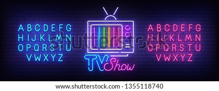 TV Show neon sign, bright signboard, light banner. Retro TV logo, emblem and label. Neon sign creator. Neon text edit
