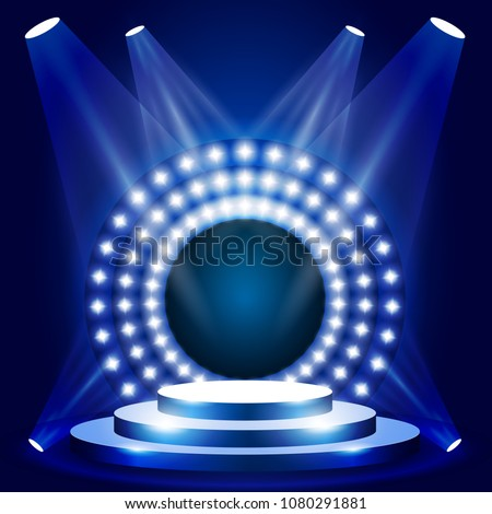 TV show scene with circle of lights - stage or podium for award ceremony, show podium