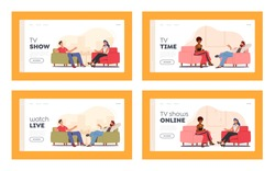 Tv Show with Guest Landing Page Template Set. Celebrity Characters Giving Interview to Television Presenter in Broadcasting Studio, Journalist Host Ask Famous People. Cartoon Vector Illustration