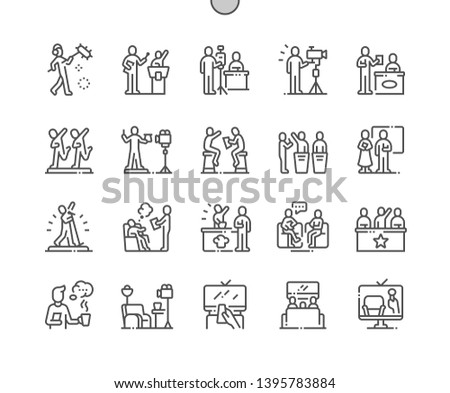 TV Shows Well-crafted Pixel Perfect Vector Thin Line Icons 30 2x Grid for Web Graphics and Apps. Simple Minimal Pictogram