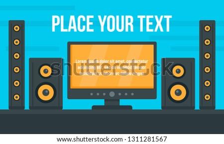 Tv stereo system concept banner. Flat illustration of tv stereo system vector concept banner for web design