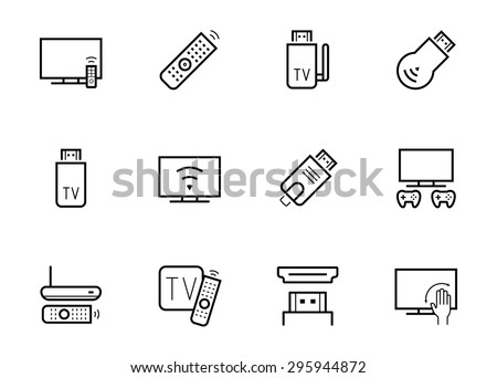 Stock Vector Tv Stick And Box Vector Icon Set In Thin Line Style