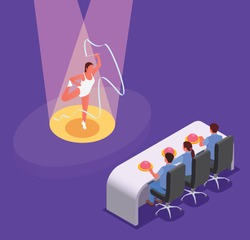 Tv talent show isometric composition with female character of dancing woman with judges sitting at table vector illustration