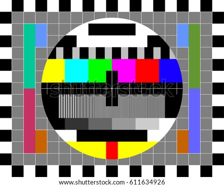 TV test card with rainbow multi color bars and geometric signals. Technological retro hardware from the 1980s. Minimal pop art print is suitable for a textile, walls, floors. Foto stock ©