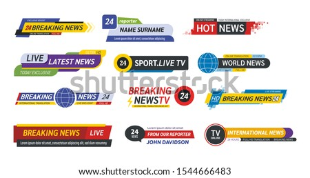 TV title news bar logos, news feeds, television, radio channels. Banner of live television broadcast media title, streaming show news sport channel media tv bar vector isolated Сток-фото ©