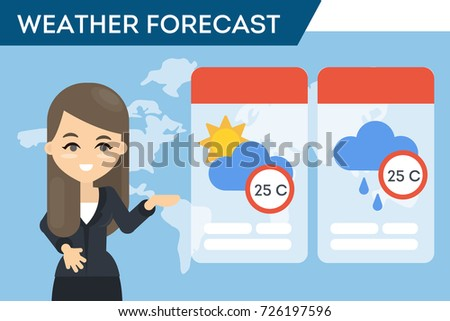 TV weather forecast. Fmale presenter showing the weather.