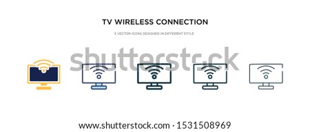 tv wireless connection icon in different style vector illustration. two colored and black tv wireless connection vector icons designed in filled, outline, line and stroke style can be used for web,