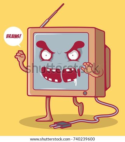 tv zombie vector illustration