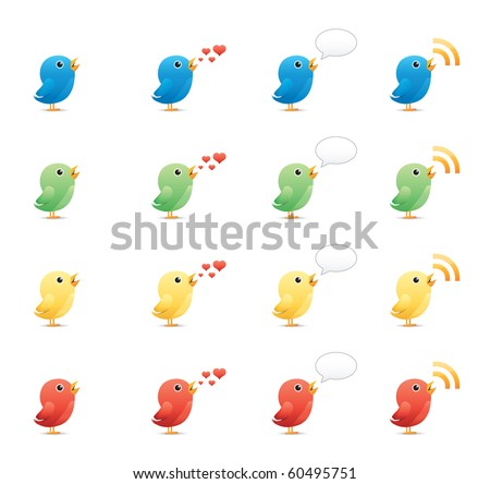 Tweeting Birds icon set 19 - Glossy Series.  Vector EPS 8 format, easy to edit.