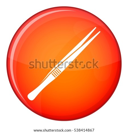 Tweezers icon in red circle isolated on white background vector illustration ストックフォト ©