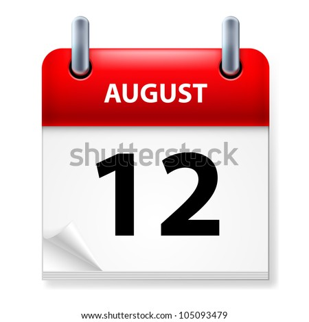 Twelfth in August Calendar icon on white background - stock vector