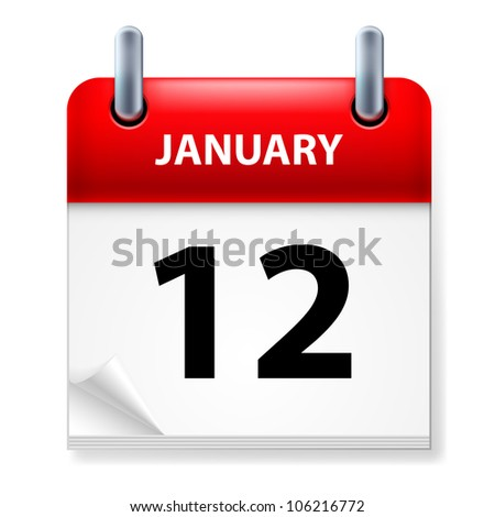 Twelfth January in Calendar icon on white background