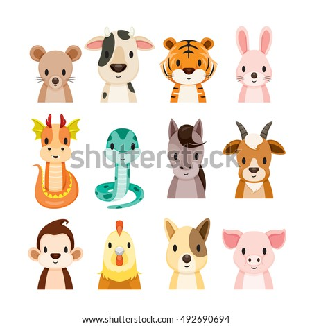 Twelve Animals Chinese Zodiac Signs Icons Set, Horoscope, Astrological, Constellation, Eastern, Fortunetelling