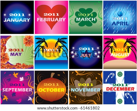 Twelve 2011 Calendars with space for planning. Very decorative and themed