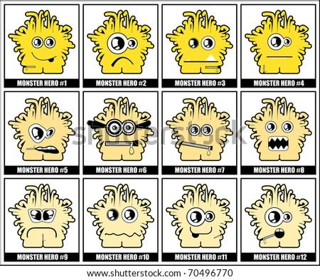 Twelve colorful monsters