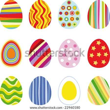 Twelve Easter eggs, vector illustration