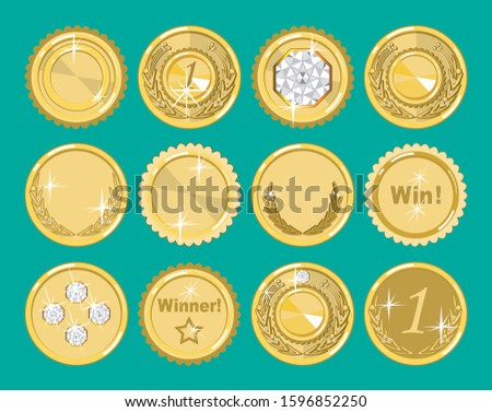 Twelve gold medals, awards, insignias with a diverse design. Badges for runners-up in competitions. Quality marks. Vector set