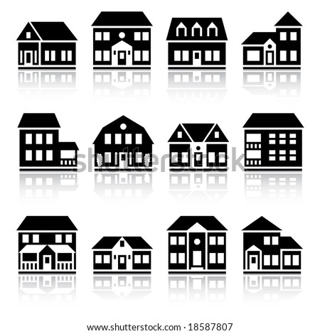 Twelve house silhouettes - stock vector