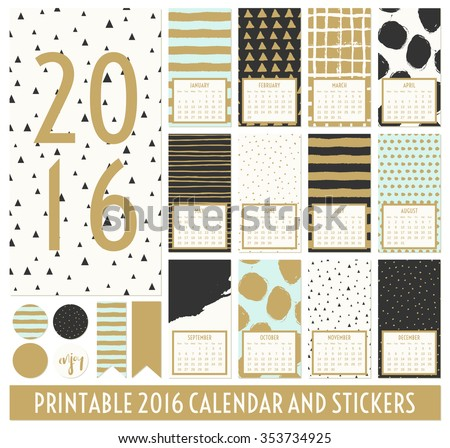stock-vector-twelve-month-calendar-template-hand-drawn-patterns-in-black-gold-pastel-blue-and-cream
