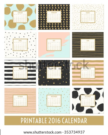 stock-vector-twelve-month-calendar-template-hand-drawn-patterns-in-black-gold-pastel-blue-pink-and