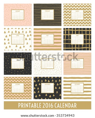 stock-vector-twelve-month-calendar-template-hand-drawn-patterns-in-black-gold-pastel-pink-and-cream