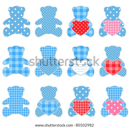 Twelve pink teddy bears with hearts. Nice elements for scrapbook, greeting cards, Valentine's cards etc.