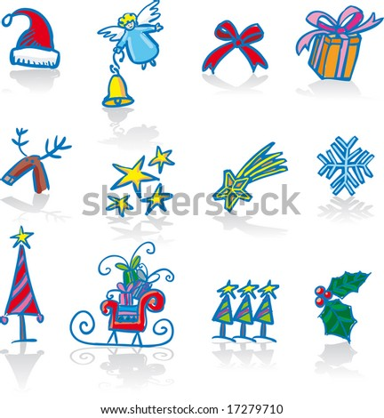 Twelve traditional Christmas symbols. Every element in separate layer