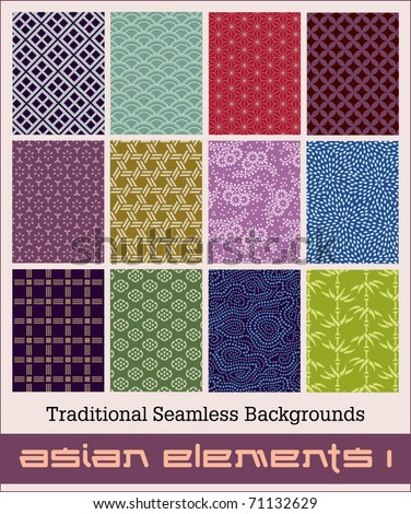 Twelve traditional Japanese seamless patterns with geometric and nature themes. * Accepted July 1st- 2011 * See my portfolio for MORE seamless patterns from vintage Japanese kimono designs