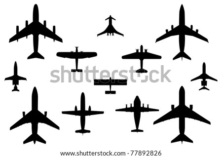 Twelve Vector Silhouette Illustrations of Commercial Airplanes