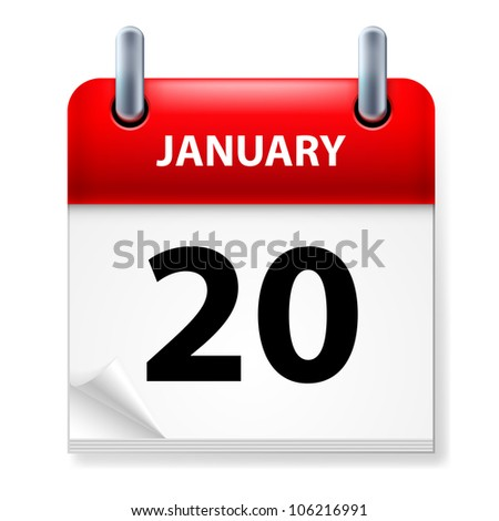 Twentieth January in Calendar icon on white background