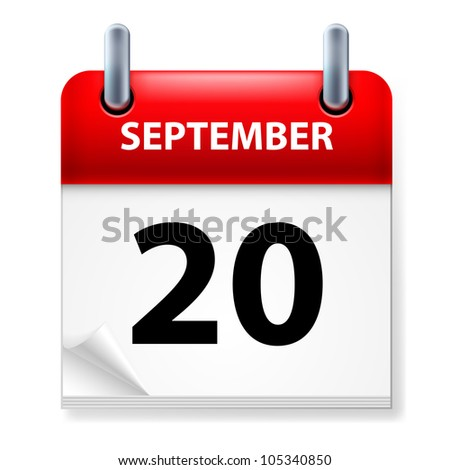 Twentieth September in Calendar icon on white background