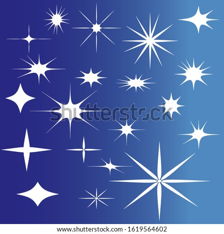 Twenty assorted sparkle, snowflake and bling vector shapes